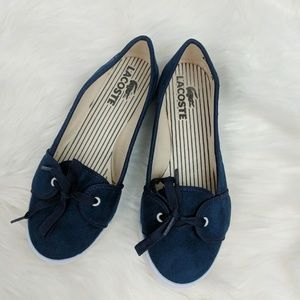 Lacoste Girls/ Women's Size 34 Navy White Flats Bo